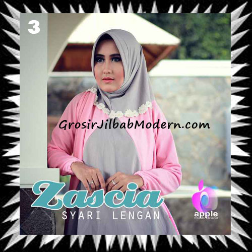 Jilbab Lengan Bergo Pet Syar'i Zascia Original by Apple Hijab Brand No 3 Abu
