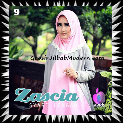 Jilbab Lengan Bergo Pet Syar'i Zascia Original by Apple Hijab Brand No 9 Pink Abu