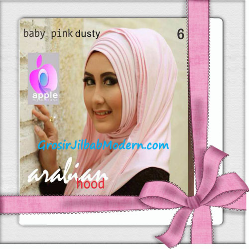 Jilbab Hoodie Instan Arabian Seri 2 by Apple Hijab Brand No 6 Baby Pink Dusty