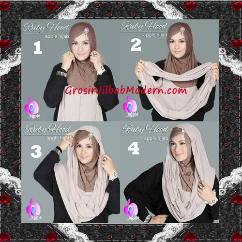 Jilbab Instant Modis Premium Ruby Hoodie Original By Apple Hijab Brand - Cara Pemakaian