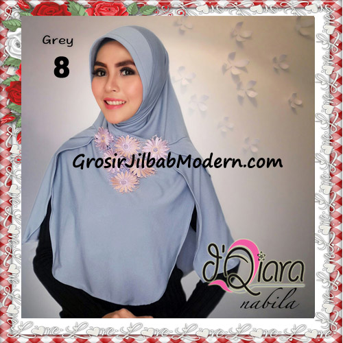 Jilbab Instant Modern Nabila Ala Artis Dian Sastro Original d'Qiara Brand No 8 Grey