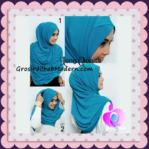 Jilbab Instant Syria Long Qonita Hoodie Cantik Original Apple Hijab Brand - Cara Pemakaian