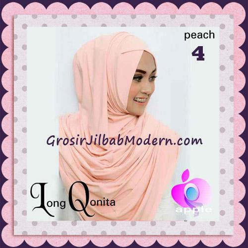 Jilbab Instant Syria Long Qonita Hoodie Cantik Original Apple Hijab Brand No 4 Peach