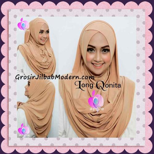 Jilbab Instant Syria Long Qonita Hoodie Cantik Original Apple Hijab Brand - Tampak Depan Belakang