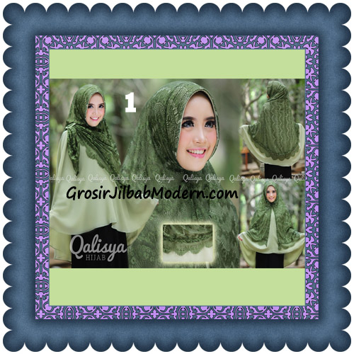 Jilbab Khimar Syar'i Elegan Halwa Brukat Seri 2 Trendy By Qasilya Brand No 1 Hijau