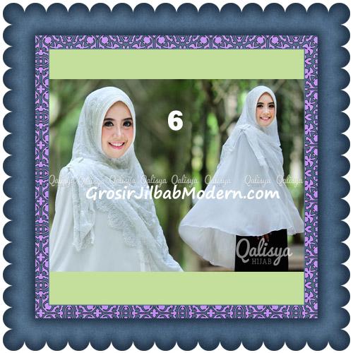 Jilbab Khimar Syar'i Elegan Halwa Brukat Seri 2 Trendy By Qasilya Brand No 6 Putih