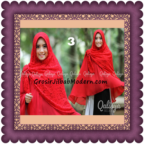 Jilbab Khimar Syar'i Halwa Brukat Modis Trendy By Qasilya Brand No 3 Merah