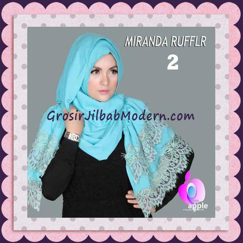 Jilbab Pashmina Instant Unik dan Cantik Premium Miranda Ruffle Original By Apple Hijab Brand No 2 Biru