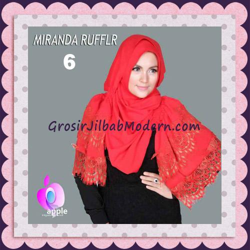 Jilbab Pashmina Instant Unik dan Cantik Premium Miranda Ruffle Original By Apple Hijab Brand No 6 Merah