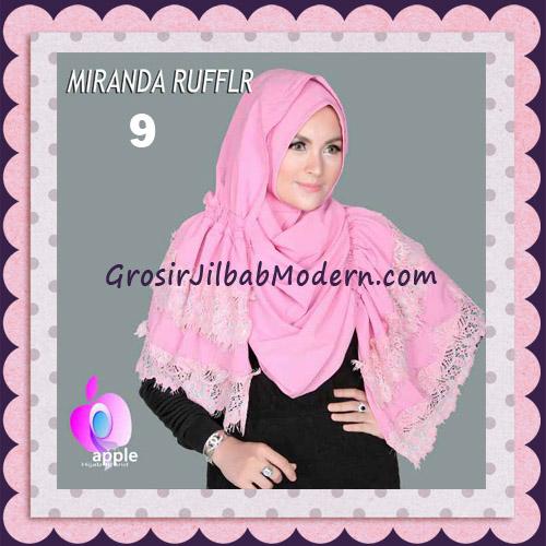 Jilbab Pashmina Instant Unik dan Cantik Premium Miranda Ruffle Original By Apple Hijab Brand No 9 Dark Pink