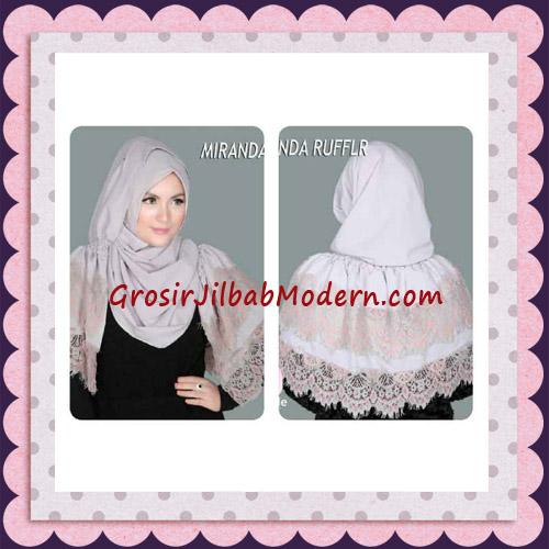Jilbab Pashmina Instant Unik dan Cantik Premium Miranda Ruffle Original By Apple Hijab Brand - Tampak Depan dan Belakang
