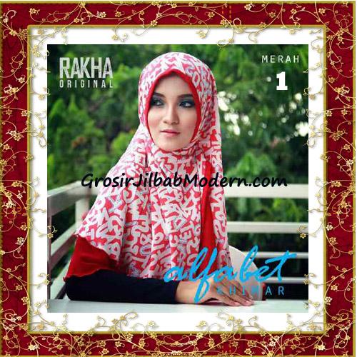 Jilbab Cerutti Jumbo Trendy Khimar Alfabet Original by Rakha Brand No 1 Merah