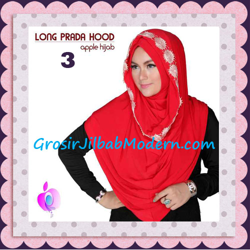 Jilbab Instant Long Prada Hoodie Modis Original By Apple Hijab Brand No 3 Red