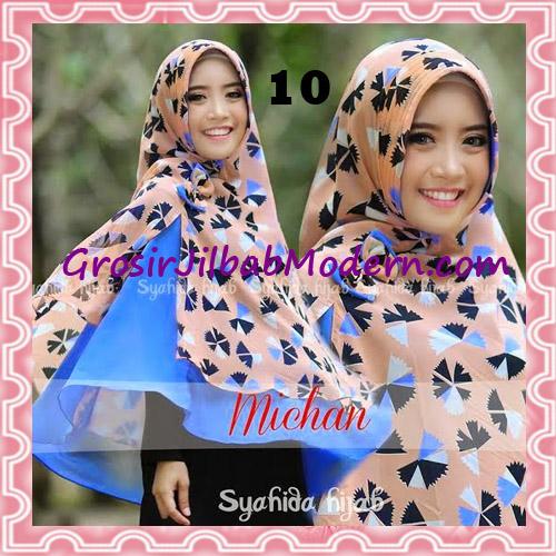 Jilbab Kombinasi Flower dan Polos Khimar Michan Pet Original by Syahida No 10