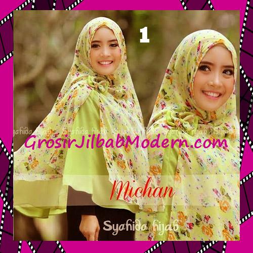 Jilbab Kombinasi Flower dan Polos Khimar Michan Tanpa Pet Original by Syahida No 1