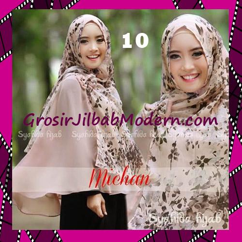 Jilbab Kombinasi Flower dan Polos Khimar Michan Tanpa Pet Original by Syahida No 10