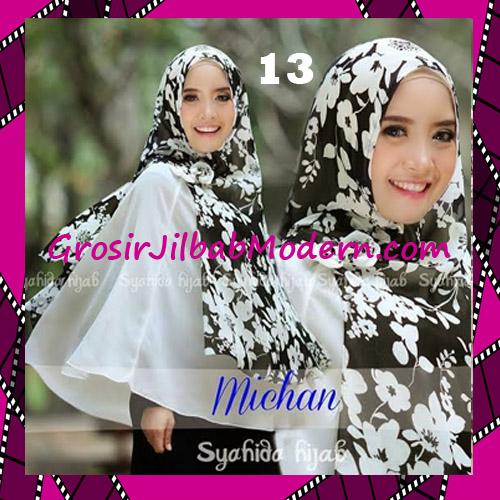 Jilbab Kombinasi Flower dan Polos Khimar Michan Tanpa Pet Original by Syahida No 13