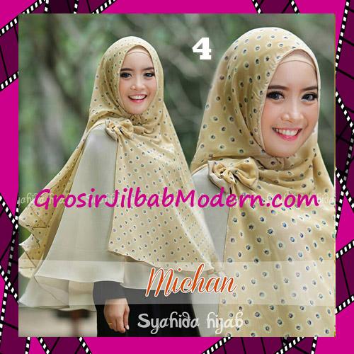 Jilbab Kombinasi Flower dan Polos Khimar Michan Tanpa Pet Original by Syahida No 4