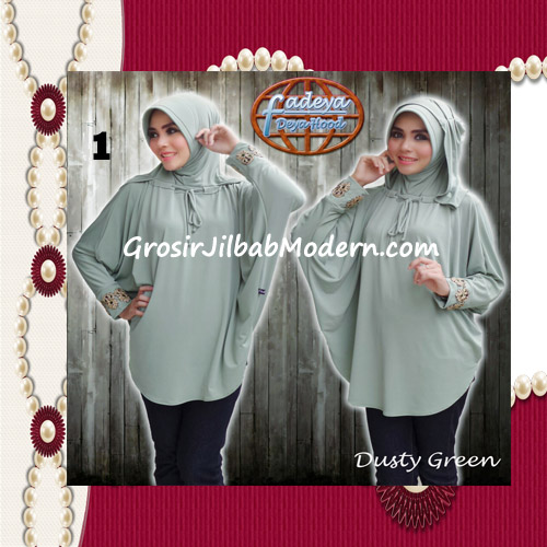 Jilbab Lengan Exclusive Deya Hood Cantik Original by Fadeya No 1 Dusty Green