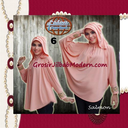 Jilbab Lengan Exclusive Deya Hood Cantik Original by Fadeya No 6 Salmon