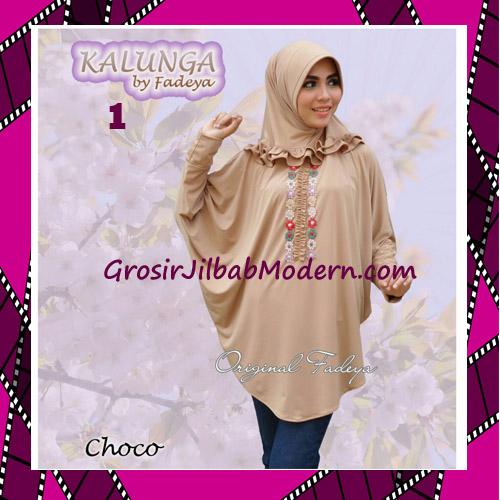 Jilbab Lengan Simple Trendy Kalunga Original by Fadeya No 1 Choco