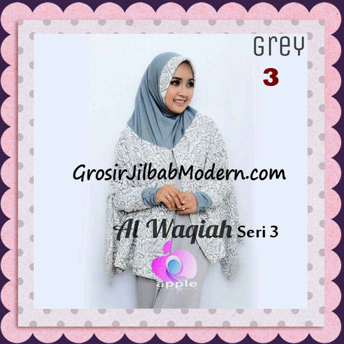 Jilbab Tangan Syar'i Al Waqiah Seri 3 Original by Apple Hijab Brand No 3 Grey