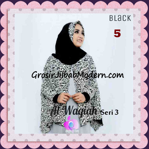 Jilbab Tangan Syar'i Al Waqiah Seri 3 Original by Apple Hijab Brand No 5 Black
