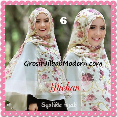 Jilbab Kombinasi Polos dan Flower Khimar Michan Non Pet Seri 2 Original by Syahida No 6