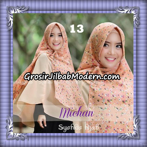Jilbab Kombinasi Polos dan Flower Khimar Michan Pet Seri 2 Original by Syahida No 13