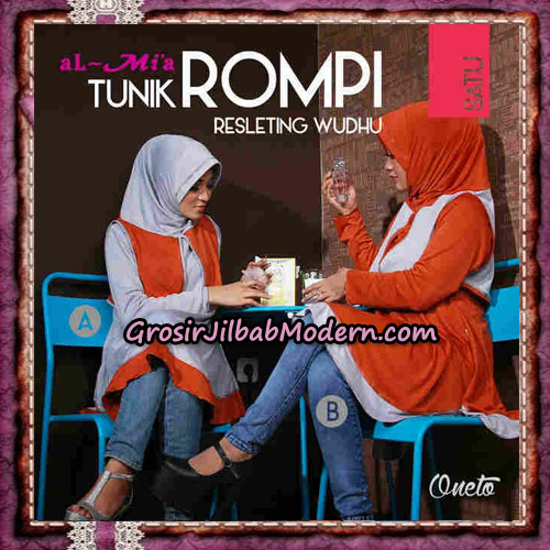 Jilbab Lengan Tunik Rompi Resleting Wudhu Original By Al-Mi'a Brand No 1A - 1B