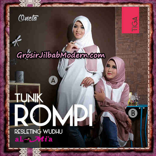 Jilbab Lengan Tunik Rompi Resleting Wudhu Original By Al-Mi'a Brand No 3A - 3B