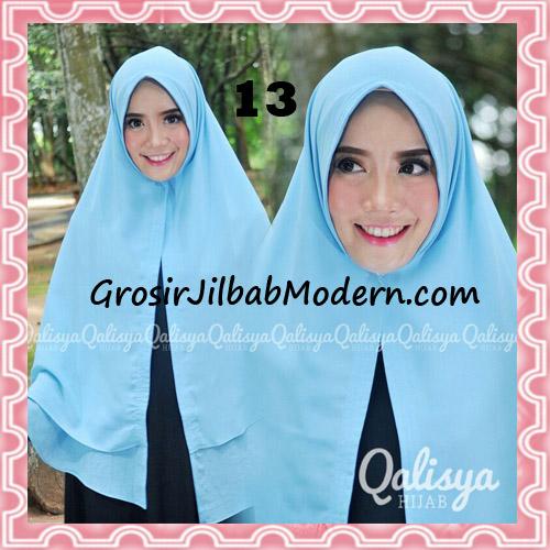 Jilbab Pashmina Khimar Lipit Cantik Original Qalisya Brand No 13 Biru Muda