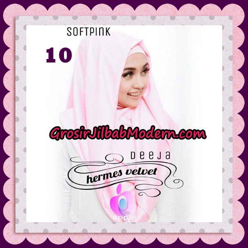 Jilbab Instant Deeja Hermes Velvet Modis Original By Apple Hijab Brand No 10 Soft Pink