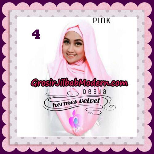 Jilbab Instant Deeja Hermes Velvet Modis Original By Apple Hijab Brand No 4 Pink