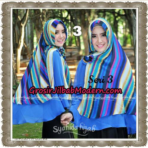 Jilbab Kombinasi Bunga dan Polos Khimar Michan Pet Seri 3 Original by Syahida No 3
