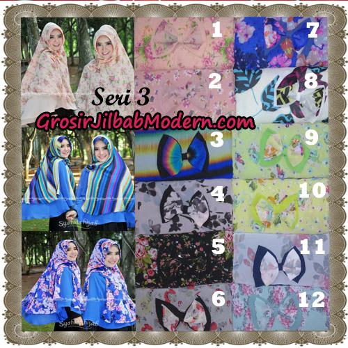 Jilbab Kombinasi Bunga dan Polos Khimar Michan Pet Seri 3 Original by Syahida Series