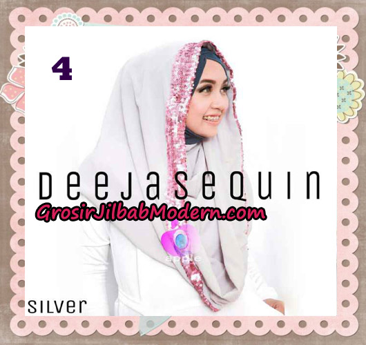 Jilbab Modern Instant Cantik Deeja Sequin Original By Apple Hijab Brand No 4 Silver