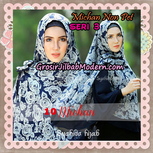 Jilbab Cerutti Kombinasi Polos dan Flower Khimar Michan Non Pet Seri 3 Original by Syahida Brand No 10