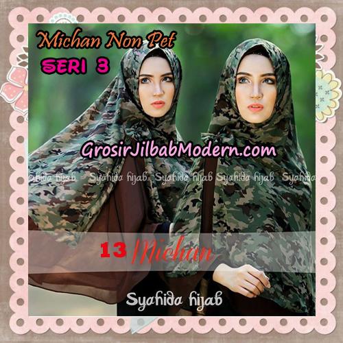 Jilbab Cerutti Kombinasi Polos dan Flower Khimar Michan Non Pet Seri 3 Original by Syahida Brand No 13