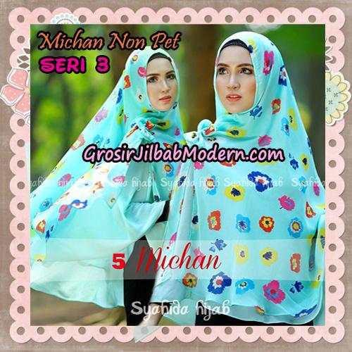 Jilbab Cerutti Kombinasi Polos dan Flower Khimar Michan Non Pet Seri 3 Original by Syahida Brand No 5
