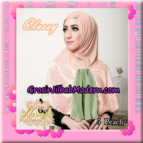 Jilbab Simple Modis Syria Classy Original By Narinda Hijab Brand No 5 Peach