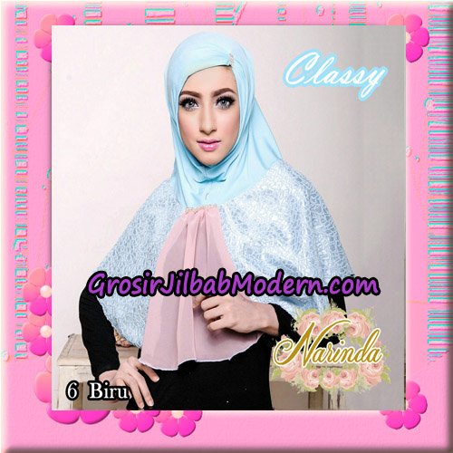 Jilbab Simple Modis Syria Classy Original By Narinda Hijab Brand No 6 Biru