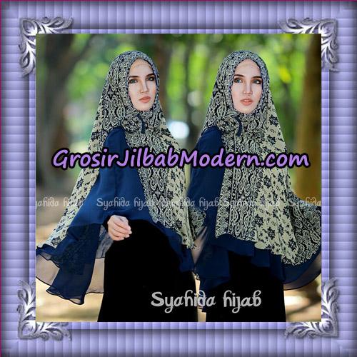 Jilbab Cerutti Non Pet Khimar Tenun Original By Syahida Hijab Brand - biru