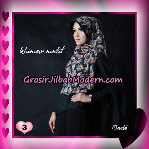 Jilbab Khimar Motif Kombinasi Polos Pet Seri 1 Support By Oneto Hijab No 3