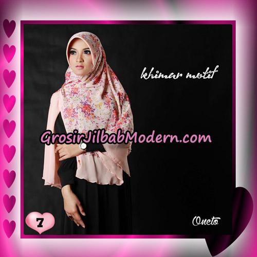 Jilbab Khimar Motif Kombinasi Polos Pet Seri 1 Support By Oneto Hijab No 7