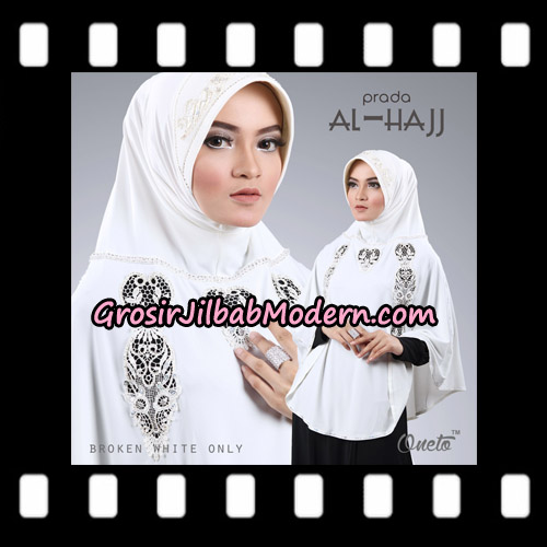 Jilbab Bergo Instant Cantik Prada Al Hajj Support Oneto Hijab - Putih