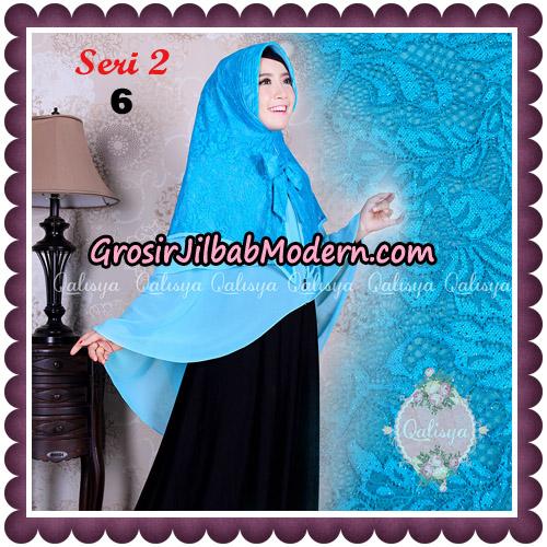 Jilbab Khimar Syari Sabqa Brukat Seri 2 Original By Qalisya Hijab Brand No 6 Turkis