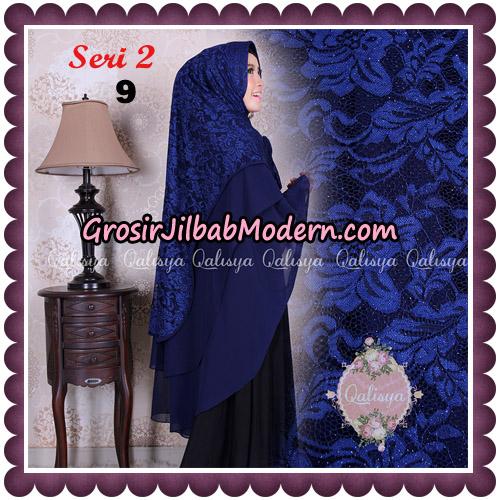 Jilbab Khimar Syari Sabqa Brukat Seri 2 Original By Qalisya Hijab Brand No 9 Navy