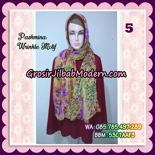 Jilbab Pashmina Bahan Sifone Wrinkle Motif Cantik No 5
