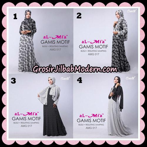 Gamis Motif Hitam Putih Stelan AMG 017 Original By AlMia Brand